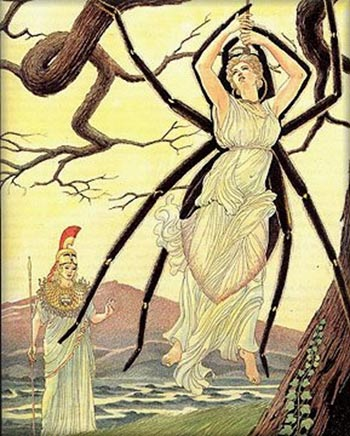 Arachne returned to the living as a spider