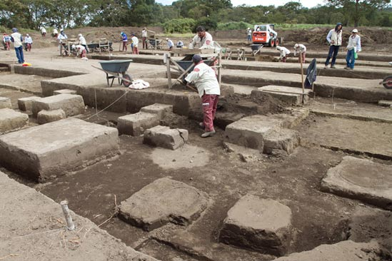 The archaeological dig is ongoing southwest of Bogota