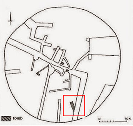 The area in red represents the tomb currently being excavated - Amphipolis