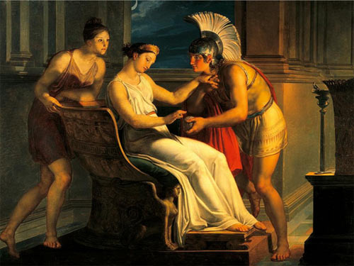 Adriadne giving some thread to Theseus