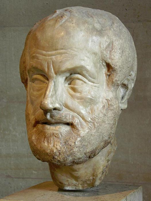 Head of Aristotle. Copy of the Imperial era (1st or 2nd century) lost bronze sculpture made by Lysippos.