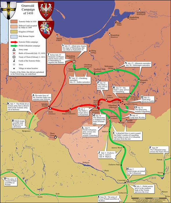 Map of army movements in the Grunwald campaign.