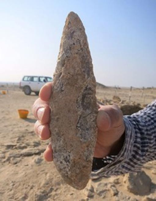 An artifact found during excavations at the Marawah Island sites.