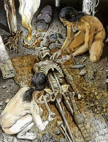 An artist's depiction of the mummification process.