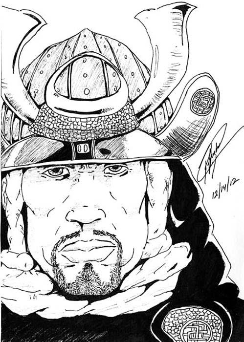 An artist's illustration of Yasuke the samurai.