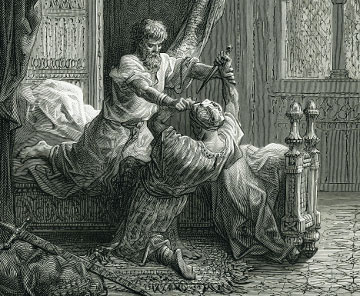 Lithograph by Gustave Dore envisions the attempted assassination of England's King Edward I