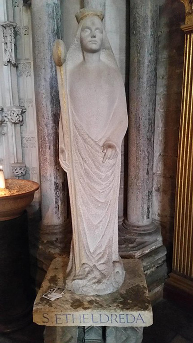 Aethelthryth as St. Etheldreda at Ely Cathedral, Ely, Cambridgeshire, England. (Francis Helminski / CC BY-SA 4.0)