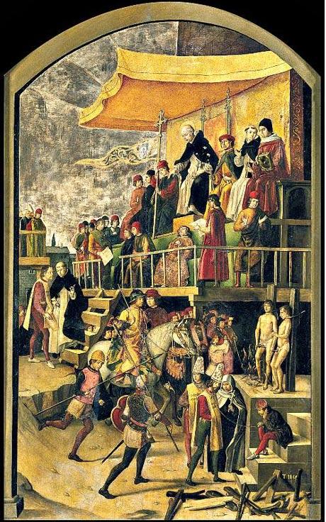 "The auto de fe"" by Pedro de Berruguete."