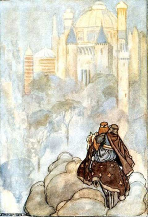 "Oisín and Niamh travelling to Tír na nÓg (""Land of the Young"" – an otherworld inhabited by the Tuatha Dé Dannan), illustration by Stephen Reid in T. W. Rolleston's The High Deeds of Finn (1910)."