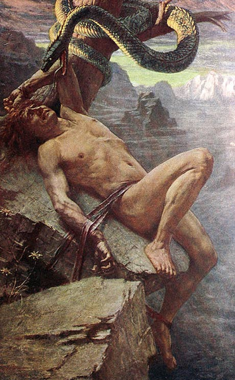 n the end, for his mischief causing the death of Baldr, Loki is hounded by the gods and tied to a rock where a serpent drips painful venom upon him.