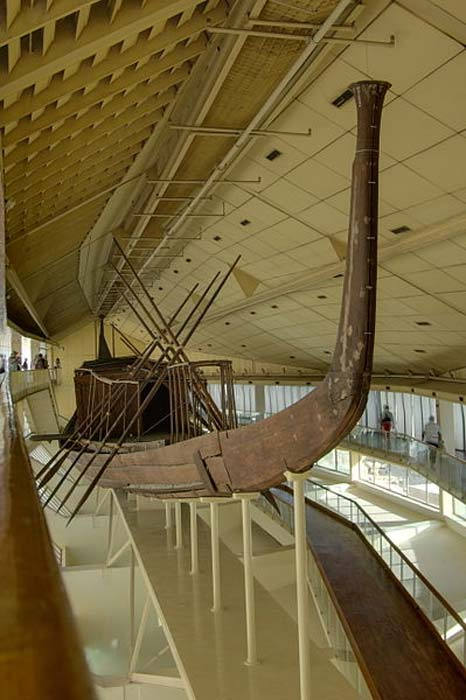 The reconstructed solar barge of Khufu.