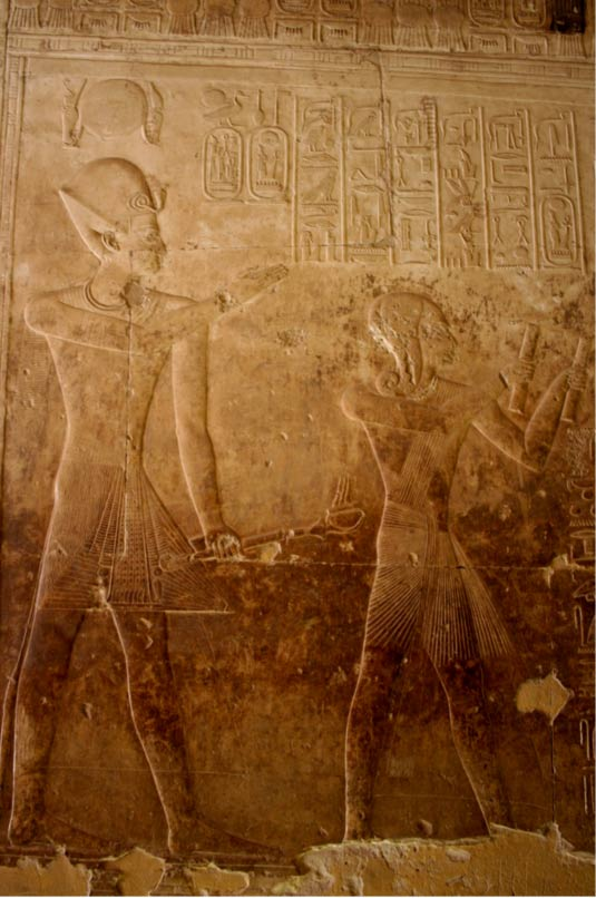 A bas-relief carving of Seti I and Ramses II at Abydos. A collection of reliefs of these two men was found during the recent digs around Tharu.