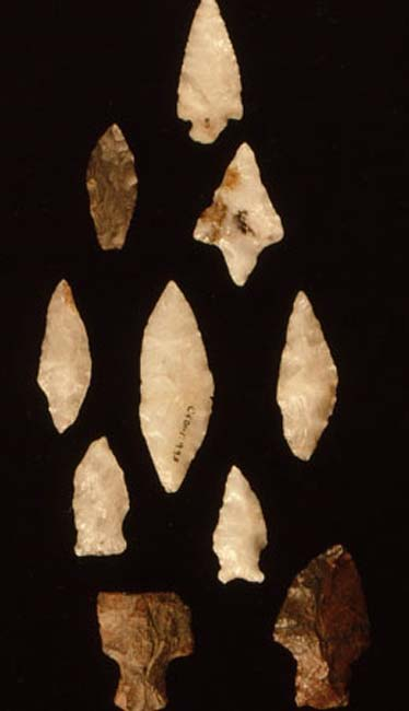 The basic sequence of projectile points found at the Oxbow site, New Brunswick.