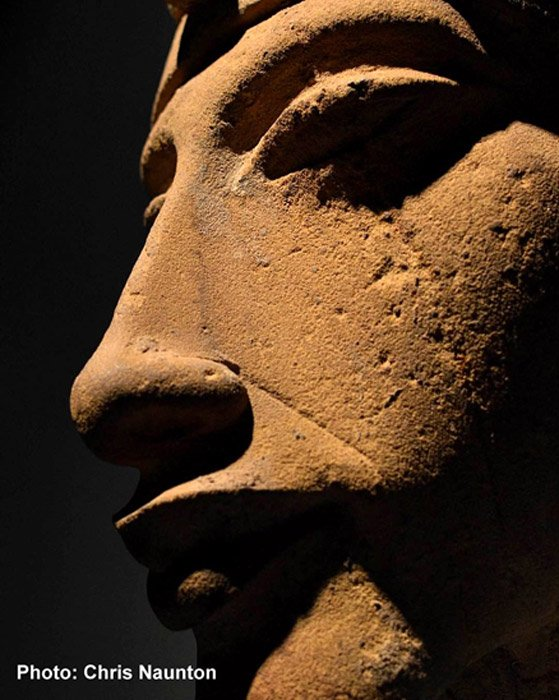 The beautifully sculpted face of one of Akhenaten's colossal statues that was purposefully wrecked at Karnak Temple, when the shrines and sanctuaries he had dedicated to the Aten were dismantled during the Amarna backlash. Luxor Museum.
