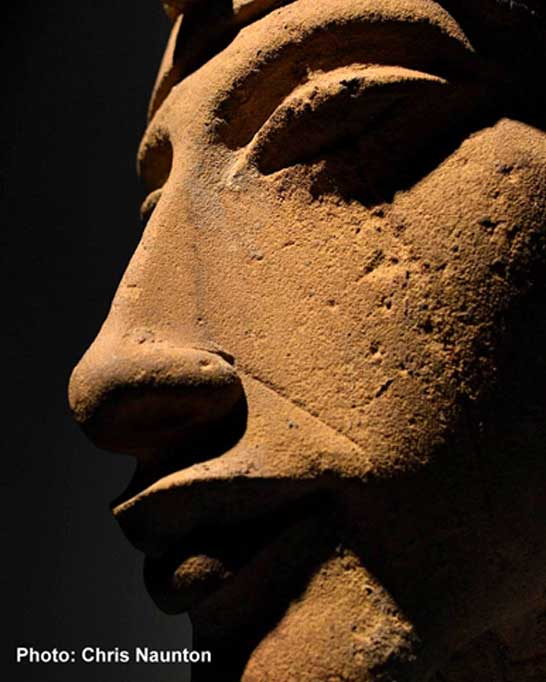 The beautifully sculpted face of one of Akhenaten's colossal statues that was purposefully wrecked, when the shrines and sanctuaries he had dedicated to the Aten were dismantled during the Amarna backlash. Karnak Temple. Luxor Museum.