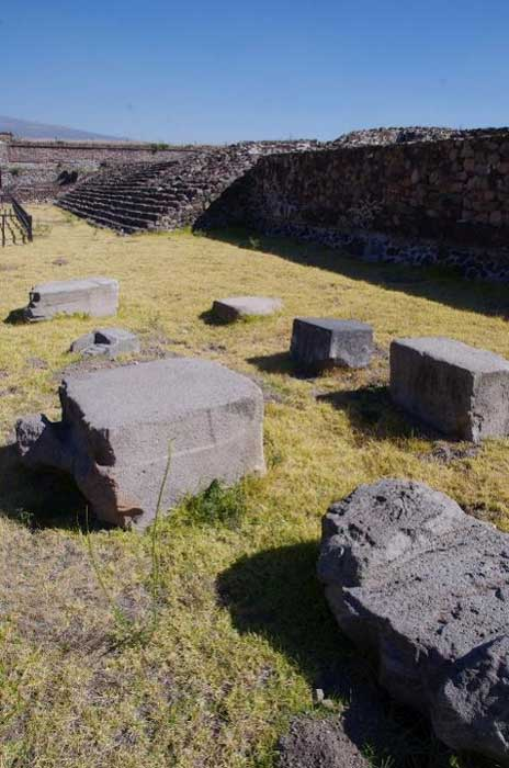 Megalithic stone blocks scattered in the vicinity of the pyramid of the Feathered Serpents at Teotihuacan
