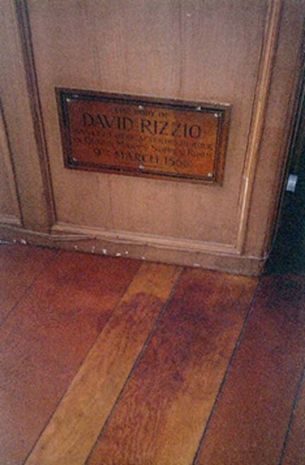 The bloodstain in the wood from the murder of David Rizzio, Private Secretary to Mary, Queen of Scots