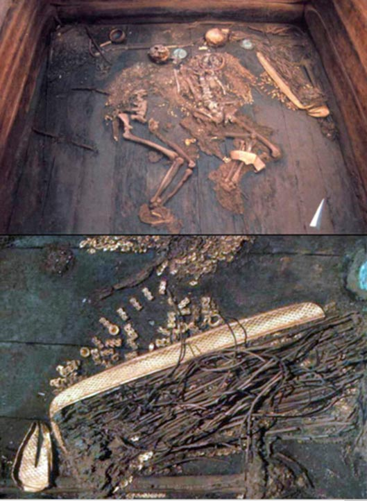 Unknown warrior was found literally covered in gold alongside his woman.