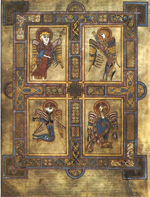 The Book of Kells contains the symbols of the Four Evangelists (Clockwise from top left): a man (Matthew), a lion (Mark), an eagle (John), and an ox (Luke). (Magnus Manske / Public Domain)