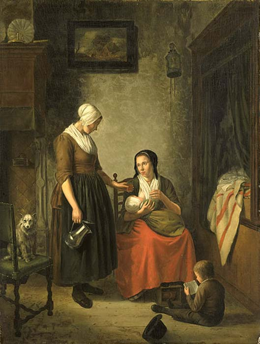 Painting of a woman breastfeeding at home. (rijksmuseum / CC BY SA 1.0)
