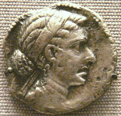 A bronze coin depicting Cleopatra, representational image only