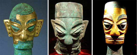 Bronze Heads and gold foil masks in Sanxingdui - China