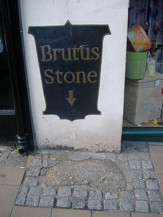 The 'Brutus' or 'bruiters' Stone in Totnes, England.
