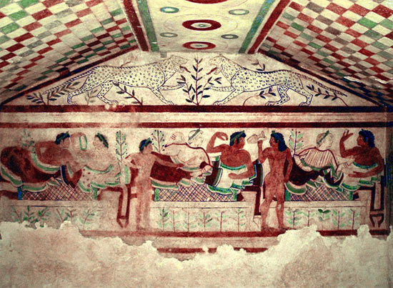 Wall painting in a burial chamber called Tomb of the Leopards