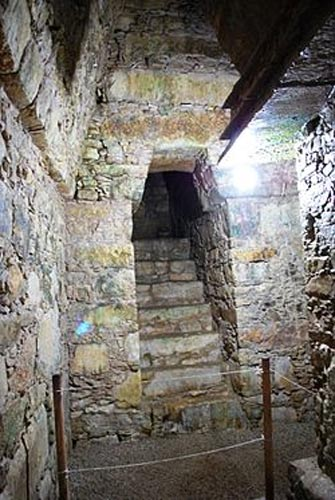 The burial chamber and the stairway leading into it