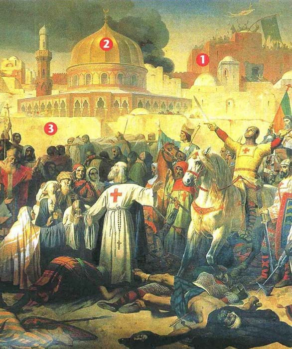 The capture of Jerusalem by the Crusaders. 1.The Holy Sepulchre 2. The Dome of the Rock 3.Ramparts
