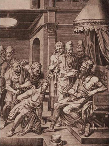 The captured Syagrius is brought before Alaric II who orders him sent to Clovis I.