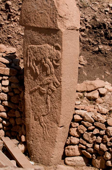 One of the carved pillars at Göbekli Tepe