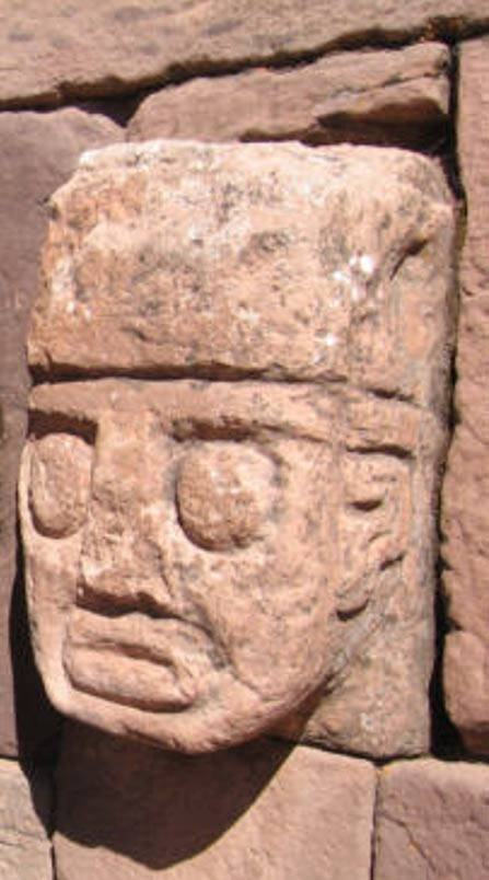 Closeup of carved stone tenon-head embedded in wall of Tiwanaku's Semi-subterranean Temple.