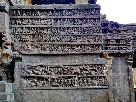 Carved wall at Kailash temple - Ellora