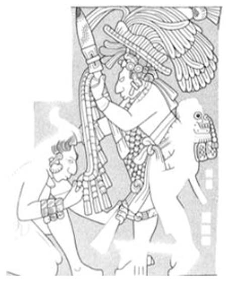 A carving from the Maya city of Yaxchilan depicts the local ruler forcing a subdued captive to kiss the shield of his captor. At the small of his back, the victorious king wears a decorated trophy skull. Drawing by Ian Graham