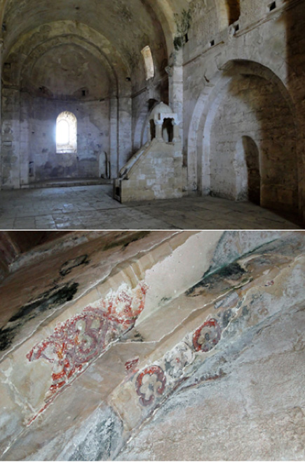 (Top) Chapel (CC BY SA 3.0) and (Bottom) frescos in the Krak des Chevaliers Chapel, Syria. (Bernard Gagnon/CC BY SA 3.0)