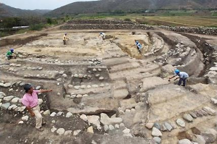 Foundations of a circular Huacas found in Jaen