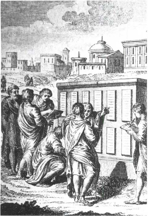 Roman citizens reading the Twelve Tablets at the Roman Forum. (Public domain)