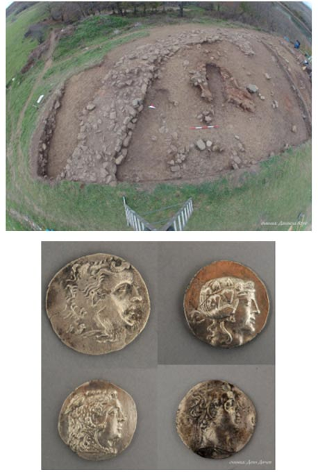 View of a Thracian ruler's residence found in the Tsarevo municipality in late 2015. Some coins uncovered at the residence.