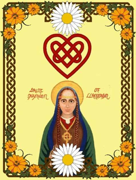 A colorful depiction of a modern Saint Dwynwen icon.