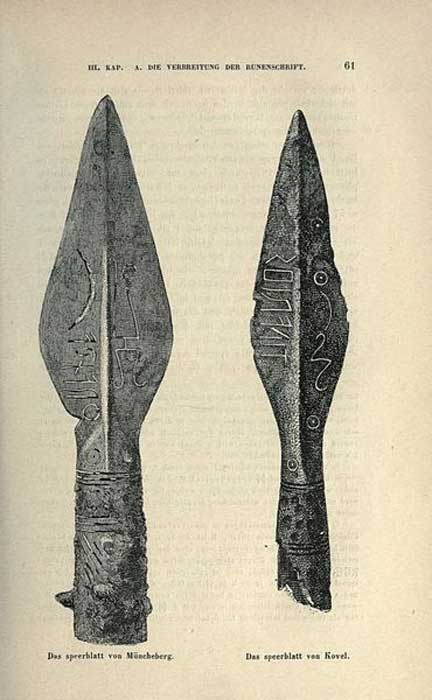 A comparison of the Müncheberg (left) and Kovel (right) spearheads.