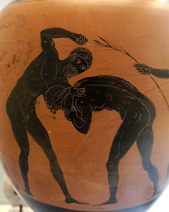 Two athletes competing in the pankration. Panathenaic amphora