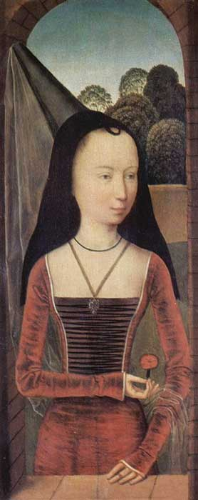 Young woman in a conical hennin with black velvet lappets or brim and a sheer veil