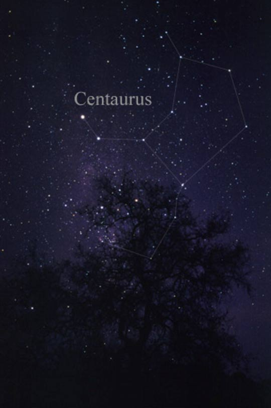 The constellation Centaurus as it can be seen by the naked eye.