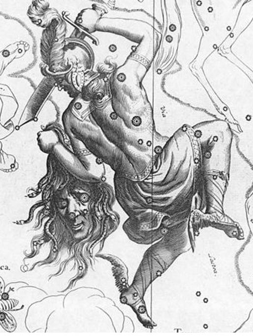 Depiction of the constellation Perseus with Medusa's head from 1690.