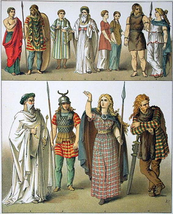 Ancient costumes of all nations – British, Gallic and German by Albert Kretschmer, painter and costumer to the Royal Court Theatre, 1882.