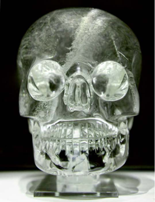 A crystal skull at the British Museum.