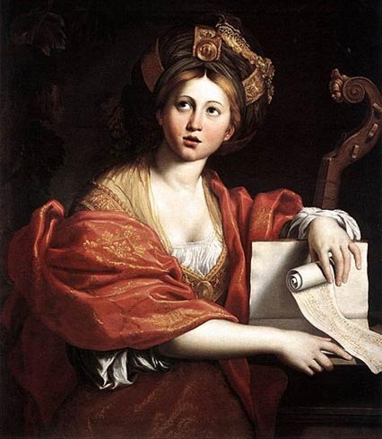 The Cumaean Sibyl with her scrolls