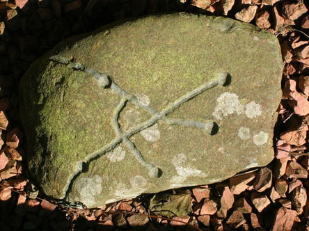 A replica of an unusual cup-and-ring-marked stone from Dalgarven
