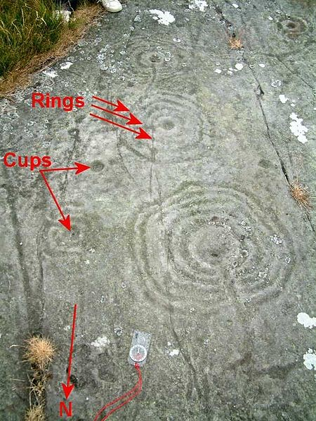 Typical cup-and-rings marks. These are located in Northumberland. (CC BY 2.5)